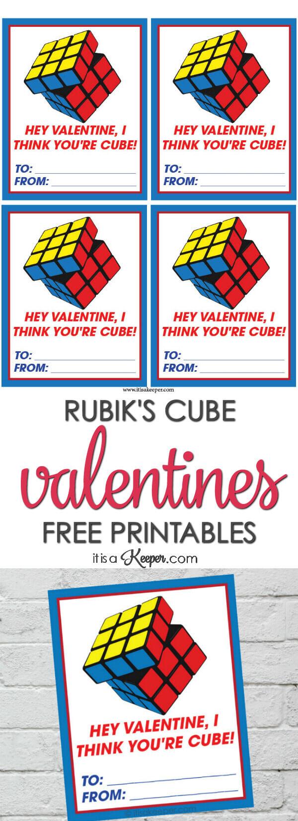 Rubiks Cube Valentine Printables - free printable Rubiks Cube themed Valentines for you to print and share
