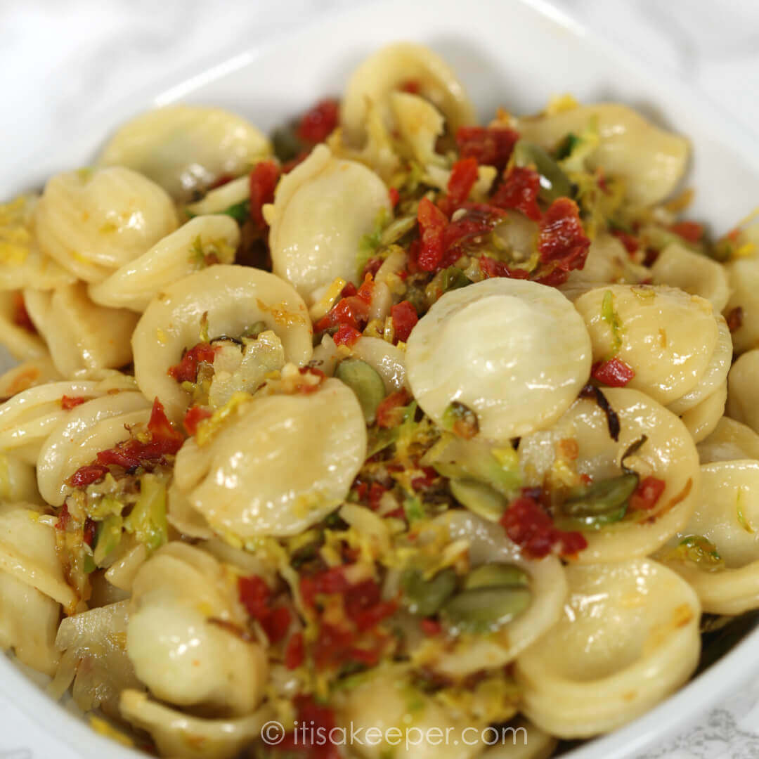 Secrets to Successful Meal Planning - Brussels Orecchiette in Garlic Wine Sauce