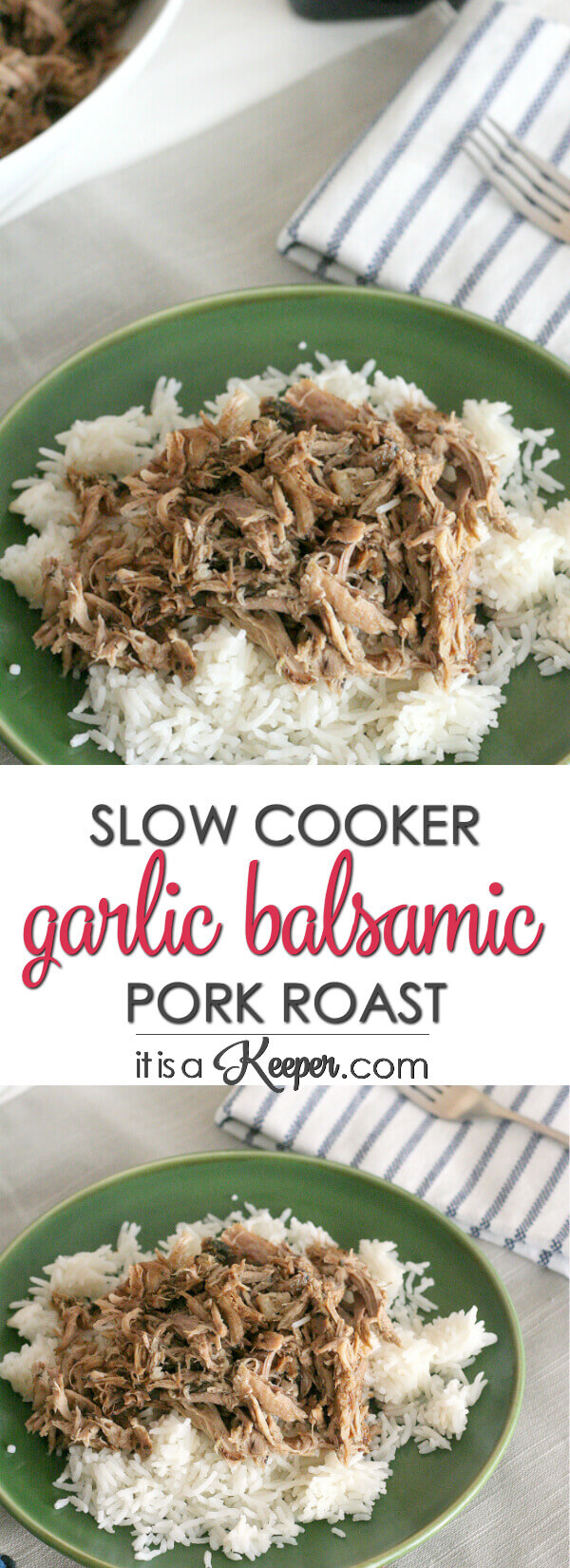 This Slow Cooker Garlic Balsamic Pork Roast is an easy crock pot recipe that is loaded with flavor. It is a delicious slow cooker pork recipe.