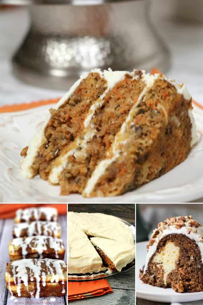 A collection of moist carrot cake with pineapple recipes