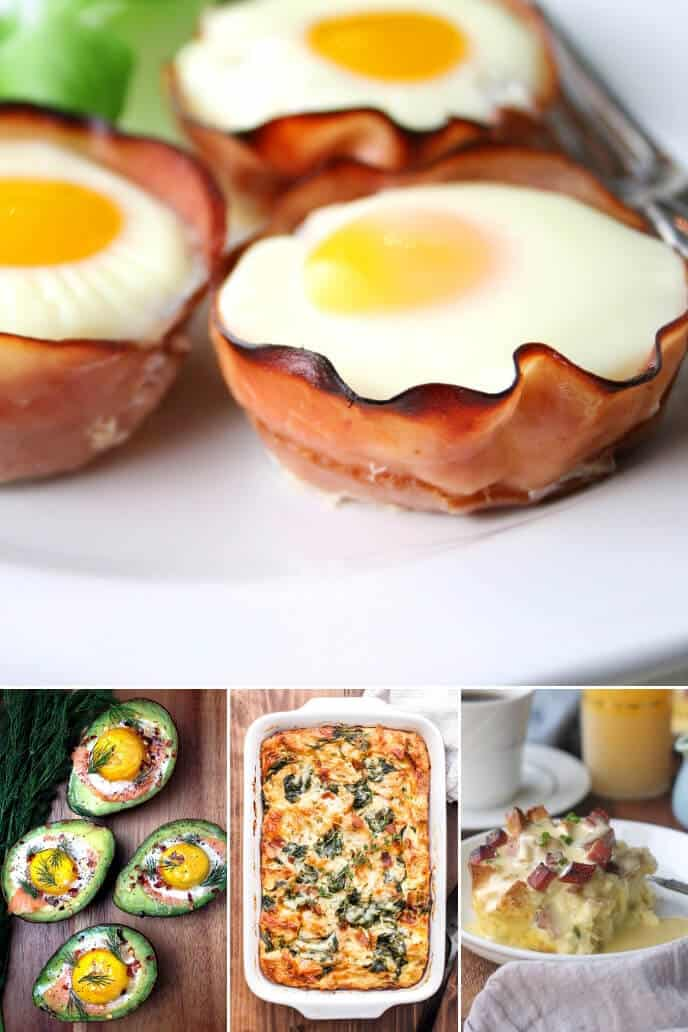 a collection of easter brunch ideas with eggs