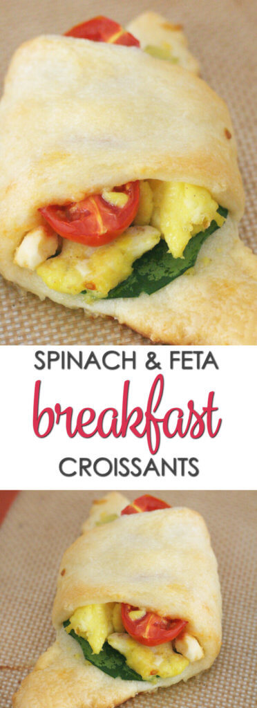 Spinach and Feta Breakfast Croissants - this tasty recipe is ready in under 30 minutes. They are perfect for breakfast on the go