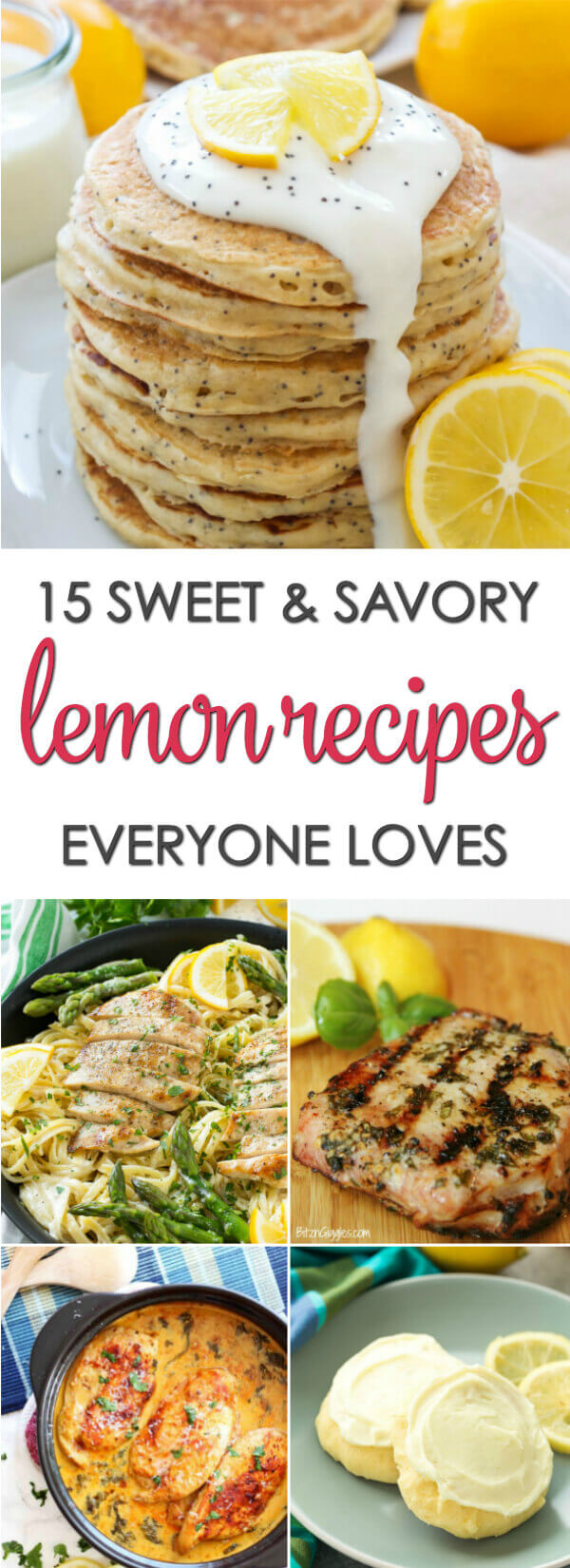 15 Easy Lemon Recipes - everything from lemon desserts recipes to savory lemon recipes