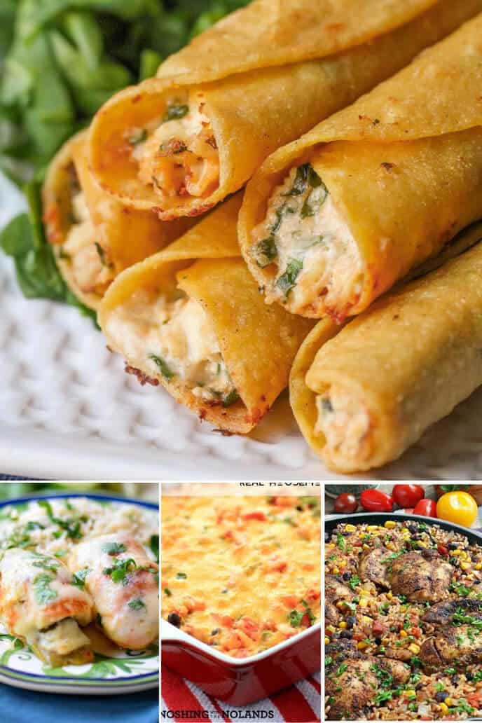 Collection of traditional mexican dishes with chicken