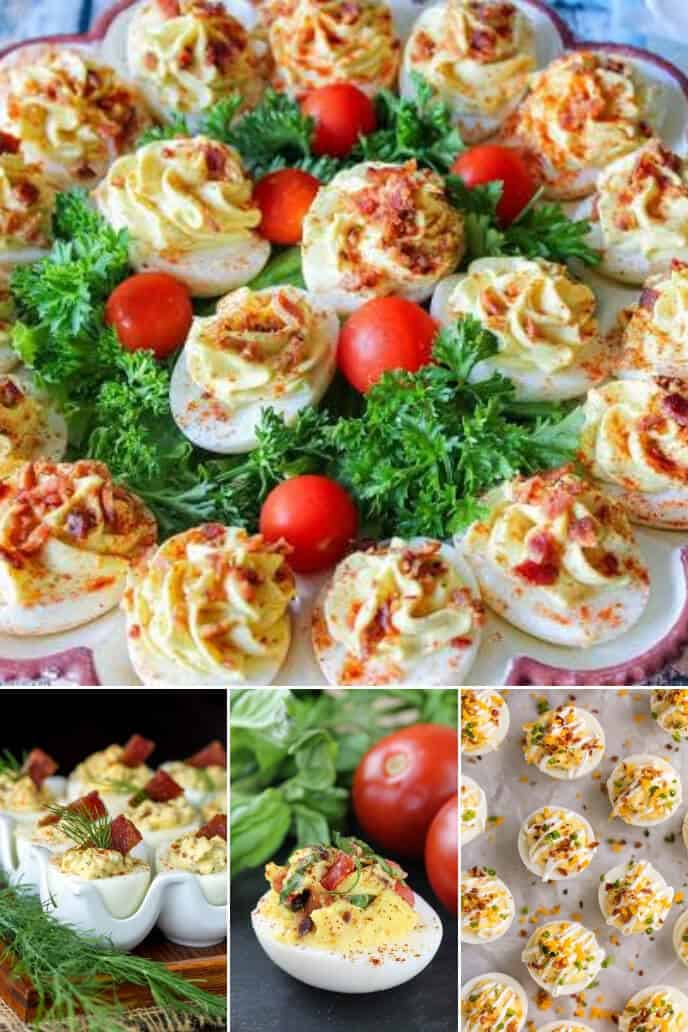 a collection of deviled eggs with bacon