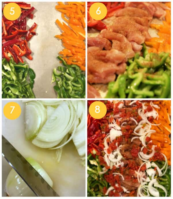 Step by step photos for making easy Chicken Fajitas