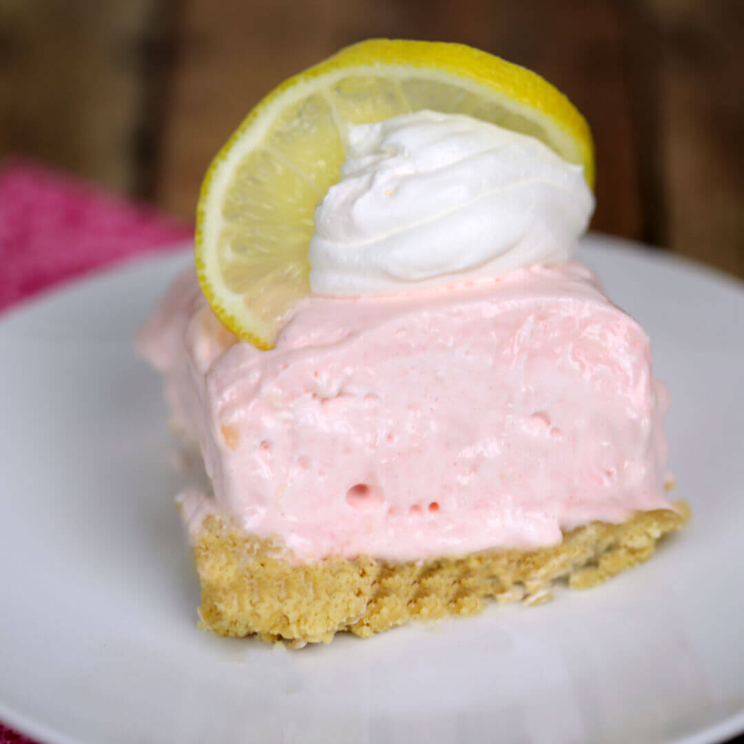 No Bake Pink Lemonade Squares - this is my all time favorite easy lemon dessert recipe