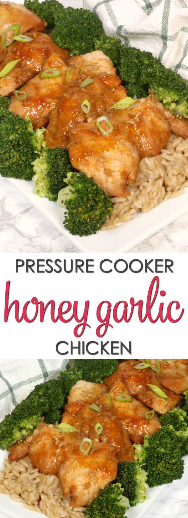 Instant Pot Pressure Cooker Honey Garlic Chicken - this is one of my favorite insta pot recipes because it's ready in less than 30 minutes