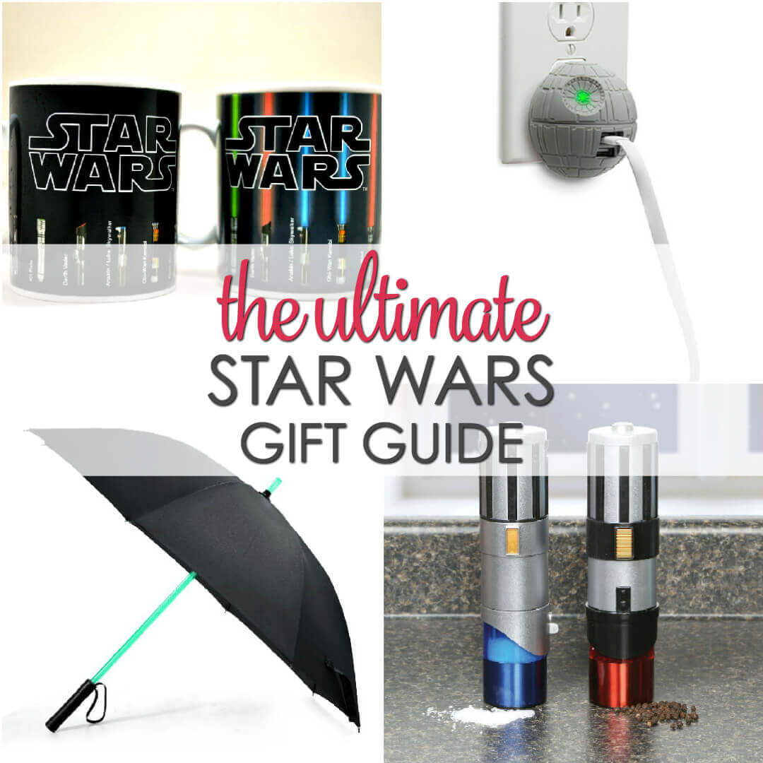 Do you know someone who loves Star Wars? Then this list will help you find the perfect gift for them!  These Star Wars gift items are great for men, women and children.  Plus, they are popular Christmas gift ideas or gifts for other special occasions.