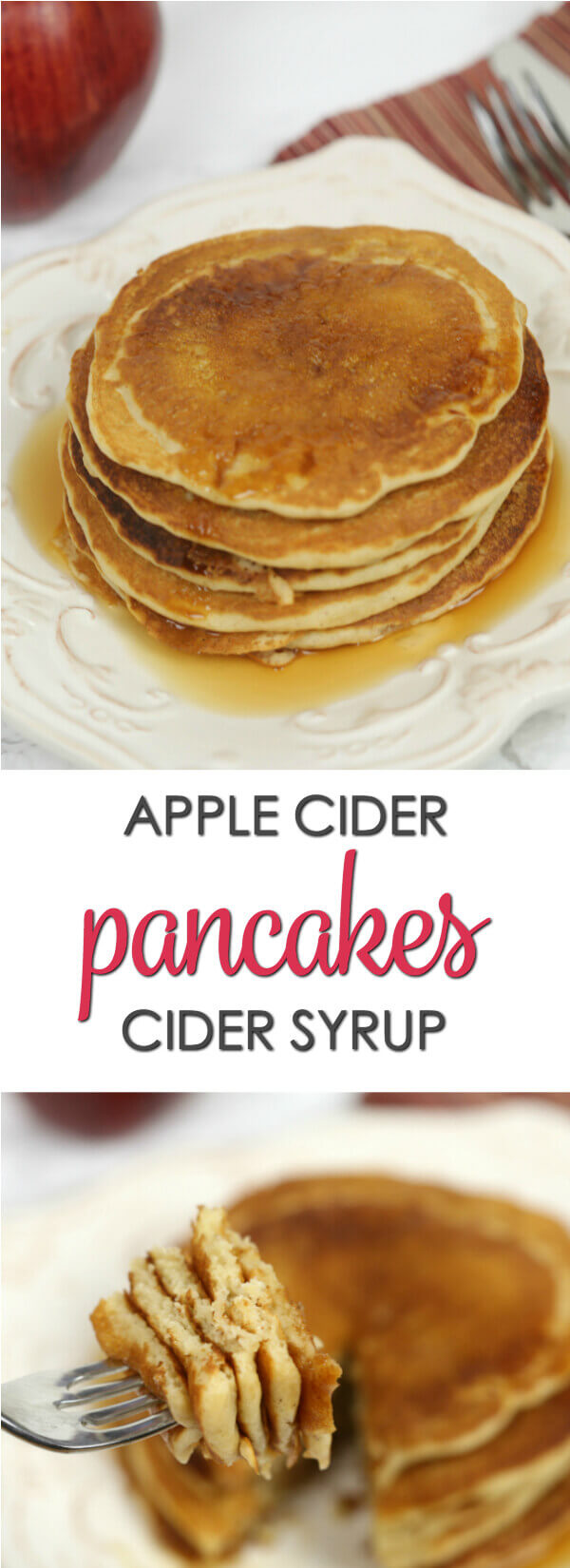 Apple Cider Pancakes - these cider infused pancakes are drizzled with a luscious cider syrup