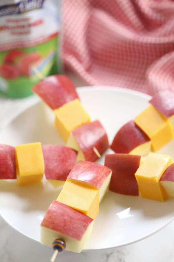 These Apple Cheddar Kabobs are an easy, kid-friendly snack idea. They are portable, wholesome, and can be customized to fit your family's tastes.