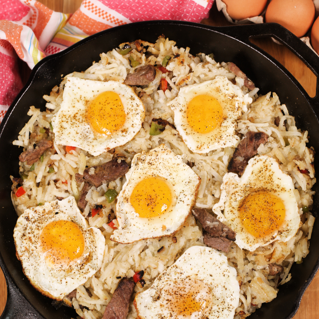 Healthy Breakfast Skillet with Steak and Eggs