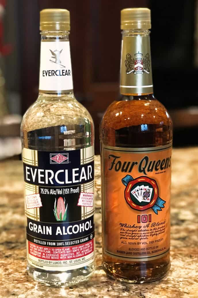 Four Queens Whisky and Everclear Grain Alcohol bottles