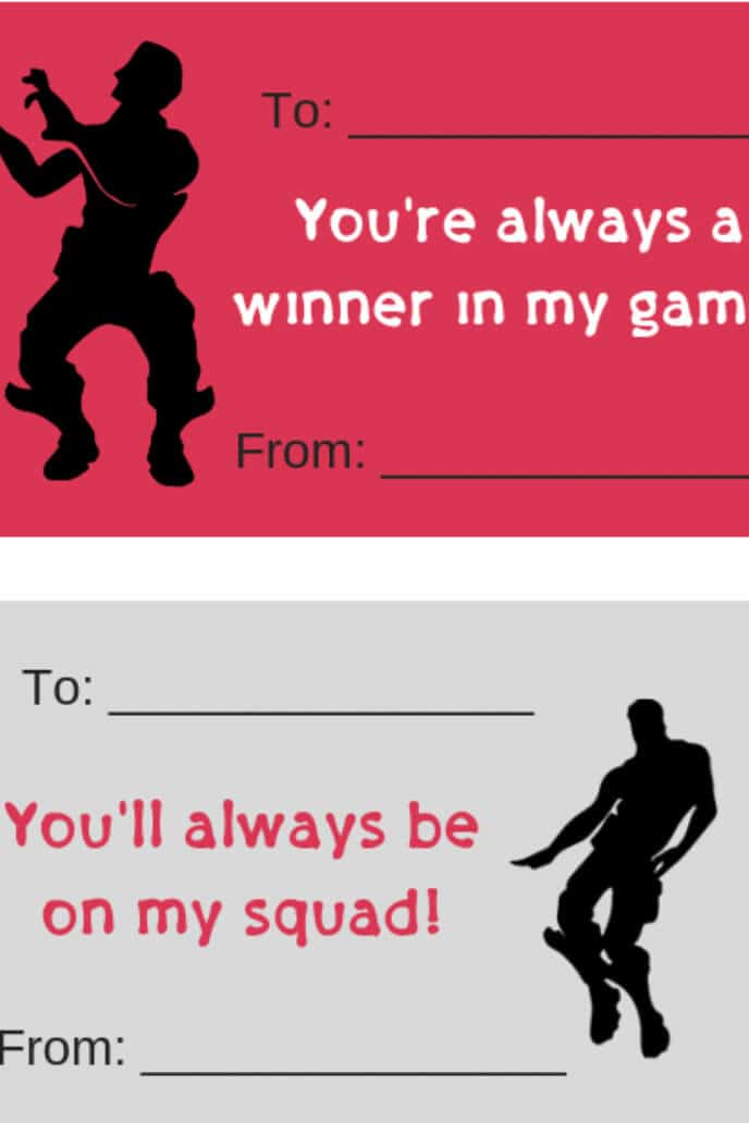 Fortnite figures dancing next to valentine saying