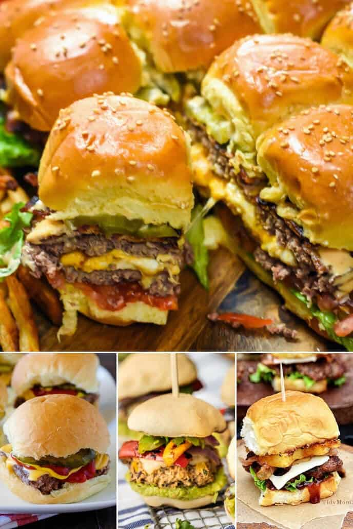 A collection of sliders burgers
