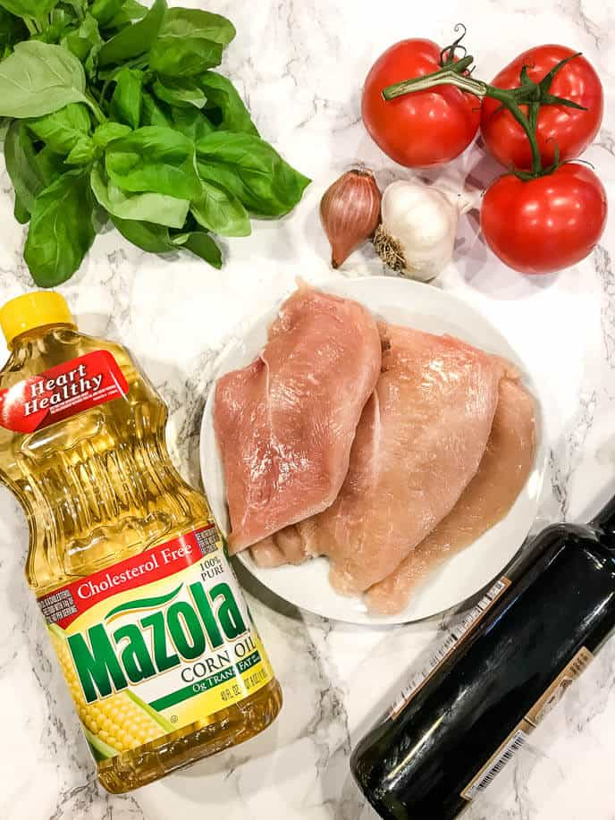Ingredients for making bruschetta chicken