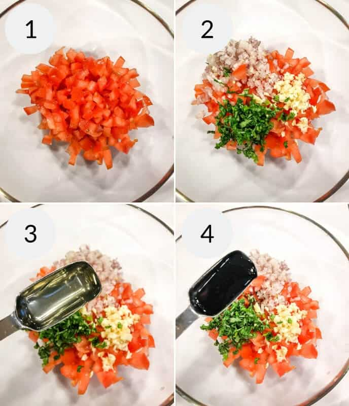 Step by step instructions for making bruschetta chicken topping