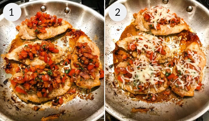 Step by step instructions for making bruschetta chicken