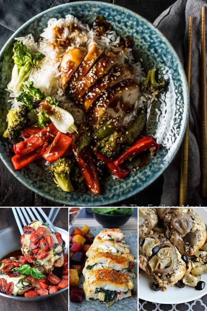 A collection of healthy dinner ideas for two including mediterranean chicken, asian chicken, stuffed chicken and more