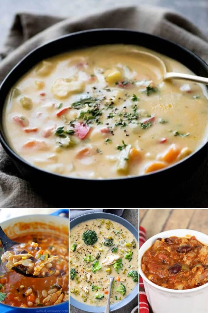 A collection of healthy dinner ideas for two including soups and chili