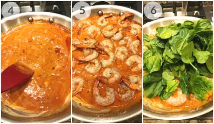 Step by Step images for cooking shrimp spinach pasta in pink sauce