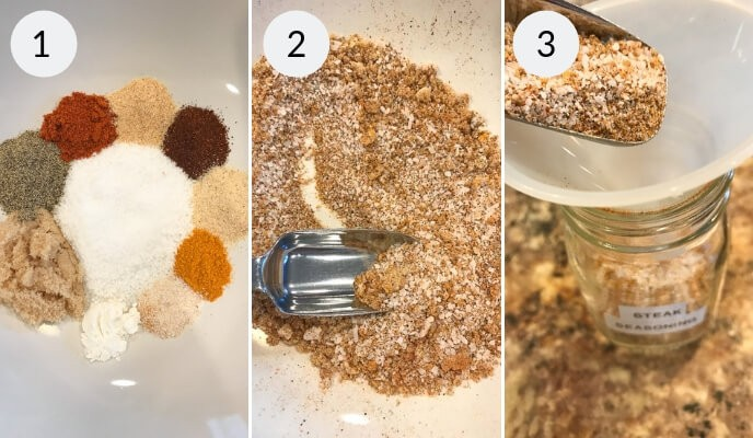 step by step instructions for making the best steak seasoning