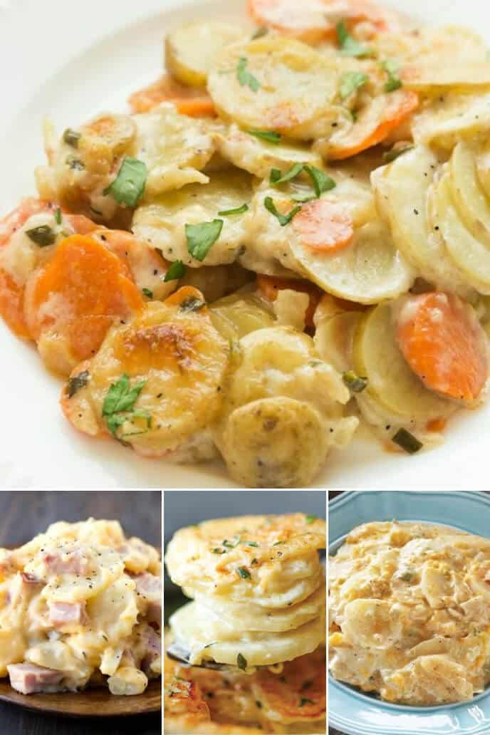 A collection of crock pot scalloped potatoes