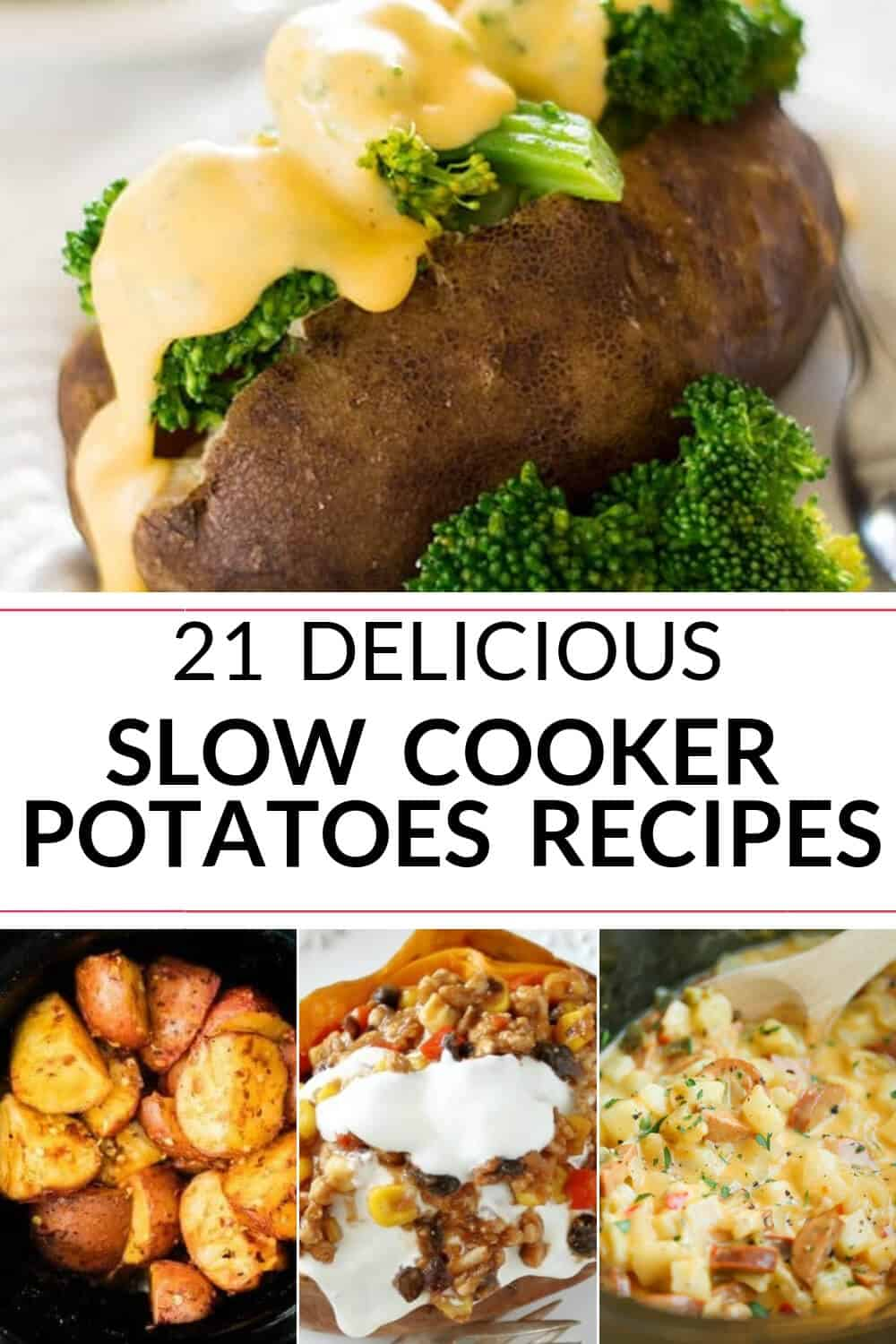 A collection of slow cooker potatoes