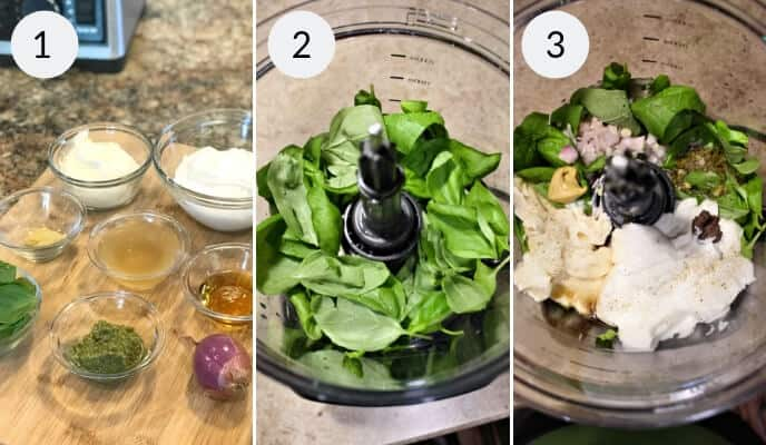 step by step instructions for making green goddess salad dressing