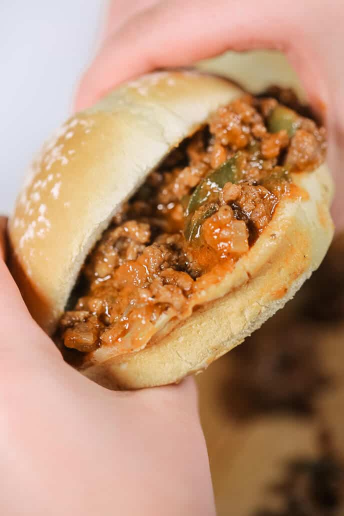 easy 30 minute sloppy joes in a hand