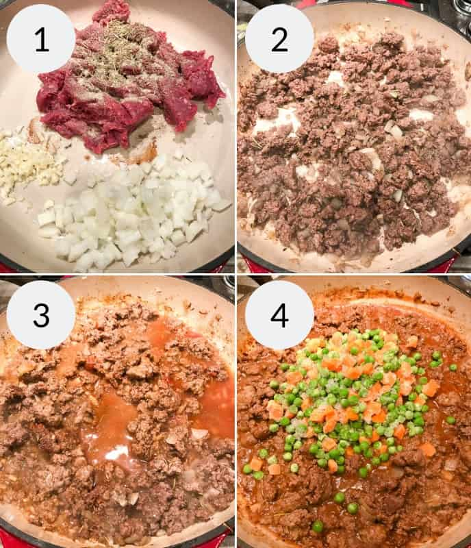 Step by step instructions for making shepherd's pie