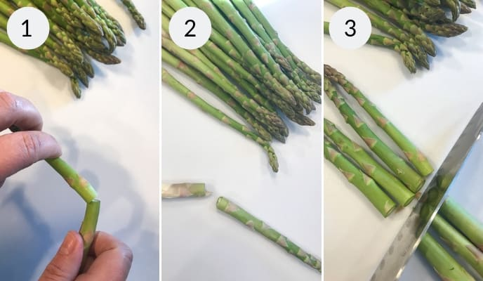 step by step instructions for how to trim asparagus