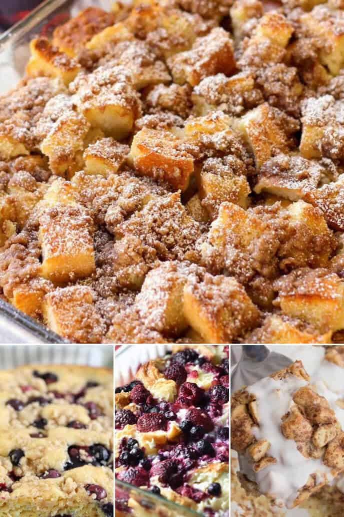 A collection of breakfast casserole recipe with fruit and overnight breakfast casserole