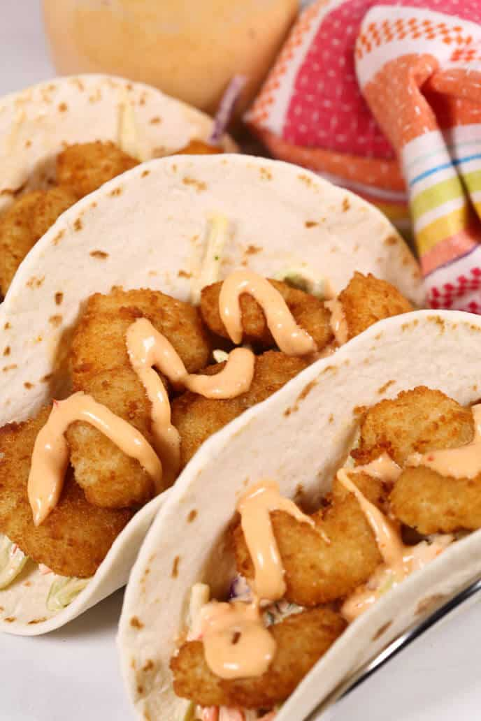 Boom Boom Shrimp Tacos with Fiesta Napkin