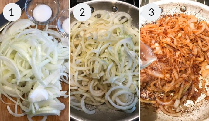 Step by step instructions for making caramelized onion dip