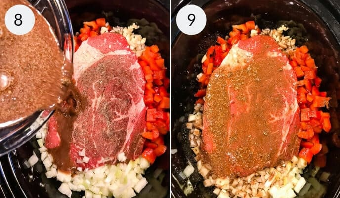 Step by step instructions for making slow cooker Italian Beef