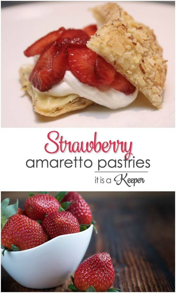 Strawberry Amaretto Pastries on a white table and Strawberries in a white bowl on a wooden table.