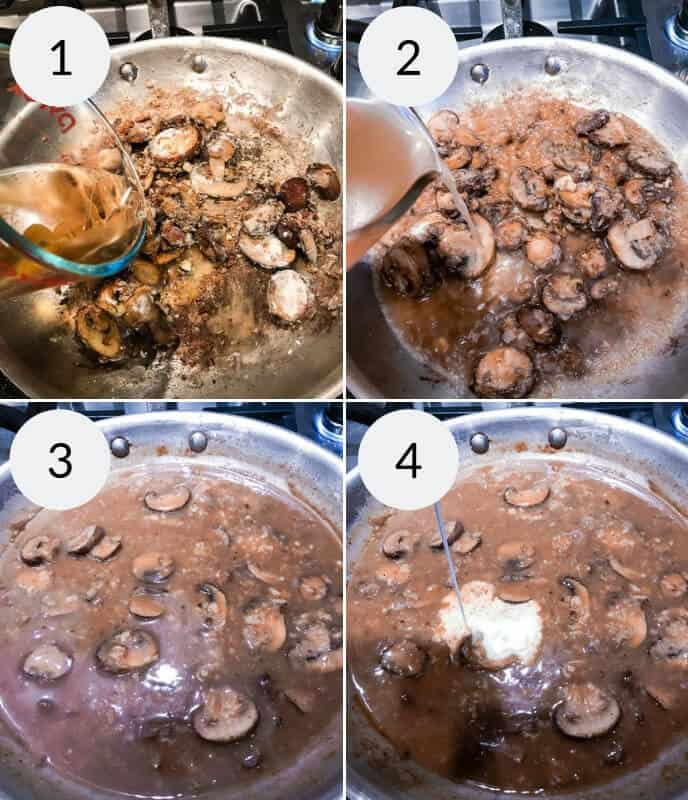 step by step instructions for making filet mignon in sherry mushroom cream sauce