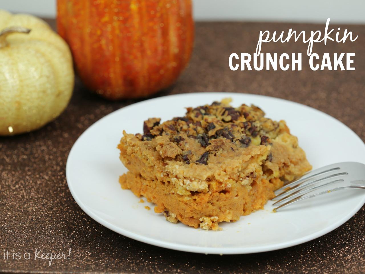 Pumpkin Crunch Cake on a white plate