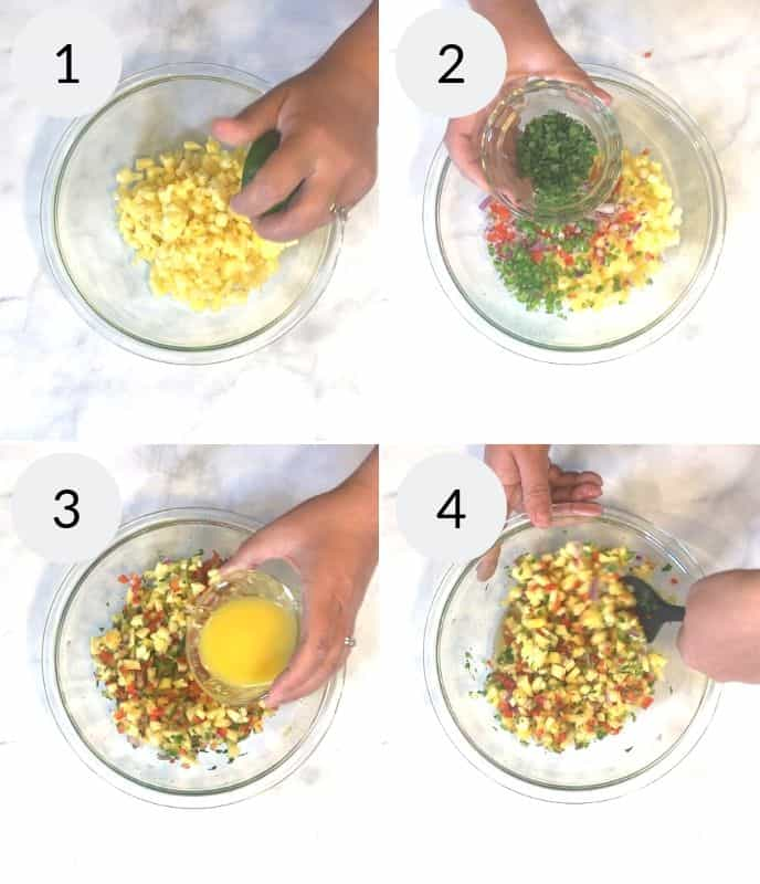 step by step instructions for making Garlic Lime Chicken with Pineapple Salsa