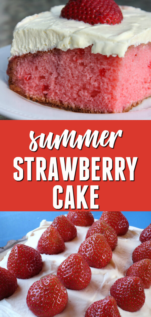If you lovequick easy dessert recipes, then you will love this luscious summer Strawberry Cake!  #itisakeeper #recipe #recipes #easyrecipe #quickrecipe #dessert #easydessert #cake #cakemix #strawberry #strawberries