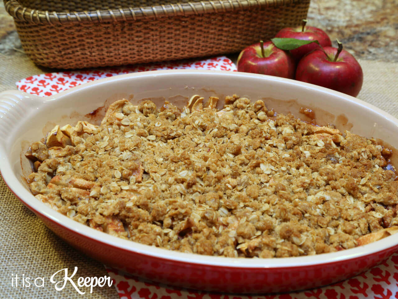 Apple Crisp in a red pan