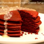 Red Velvet Pancakes with Cream Cheese Syrup