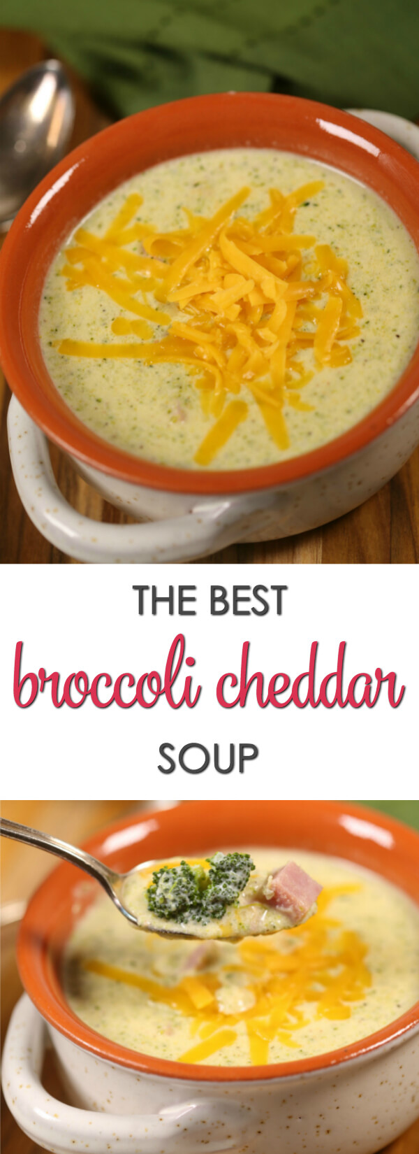 This is the best Broccoli Cheese Soup recipe I've ever tried.  It's rich, flavorful and creamy.  I love that it can be made in less than 30 minutes with only a few simple ingredients.  #Soup #30MinuteRecipe #EasyRecipe
