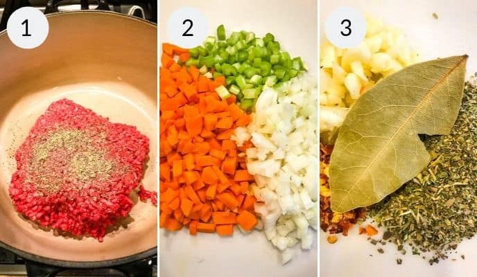 First 3 steps in preparing Pasta fagioli soup