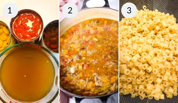 Last three steps to complete pasta fagioli soup