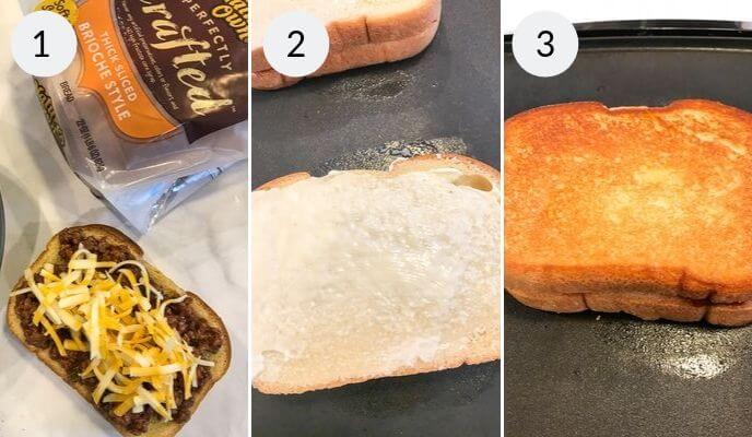 Step by step instructions for making sloppy joe grilled cheese