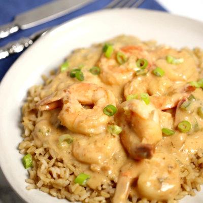 Creamy Garlic Shrimp and Rice