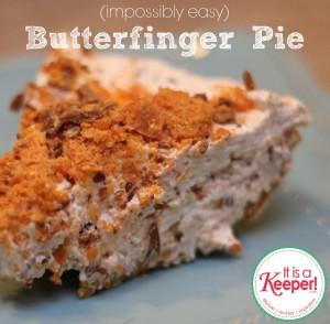Butterfinger Pie on a blue plate