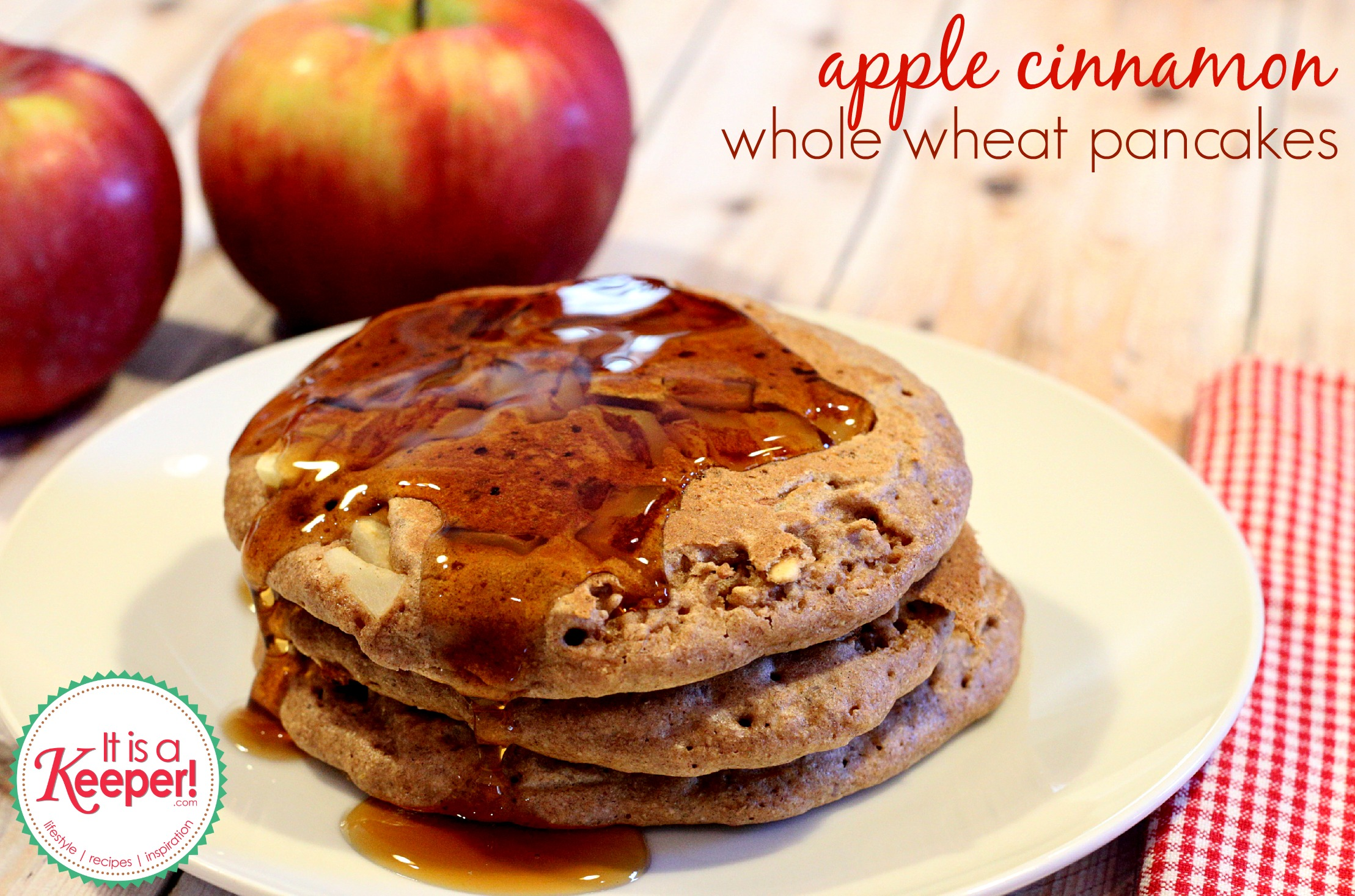 Apple Cinnamon Whole Wheat Pancakes